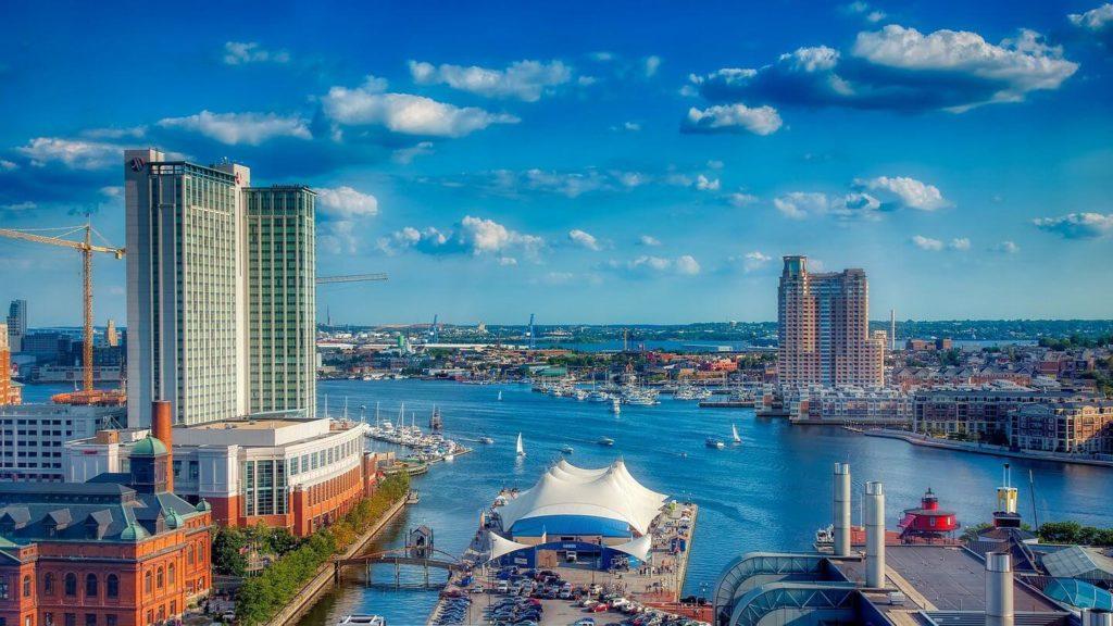 Baltimore harbour city skyline interstate travel USA