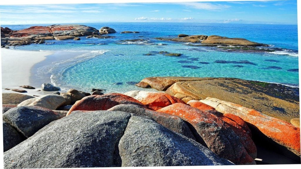 red rocks blue water Bay of Fires Tasmania