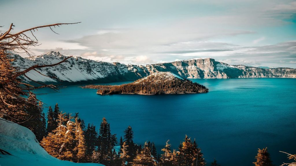 Crater Lake snowy mountains Oregon things you may not know about America