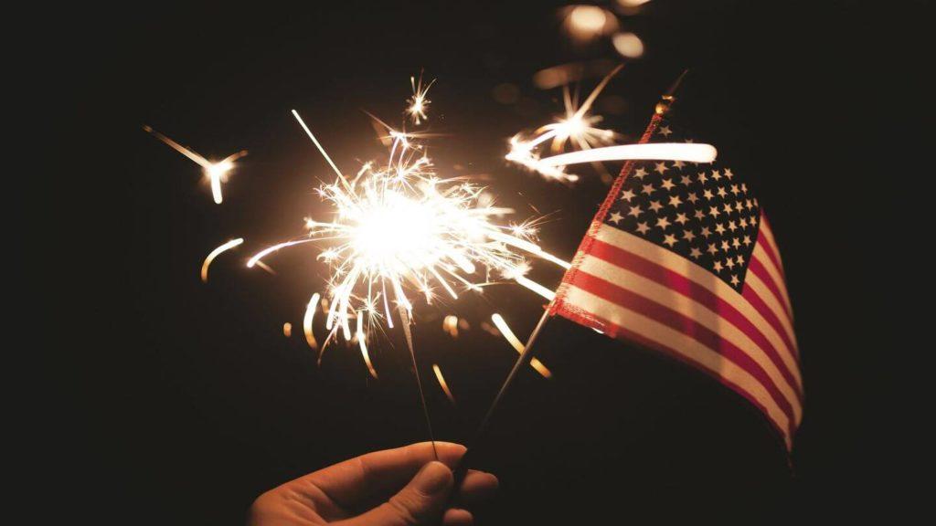 sparkler American flag Fourth of July