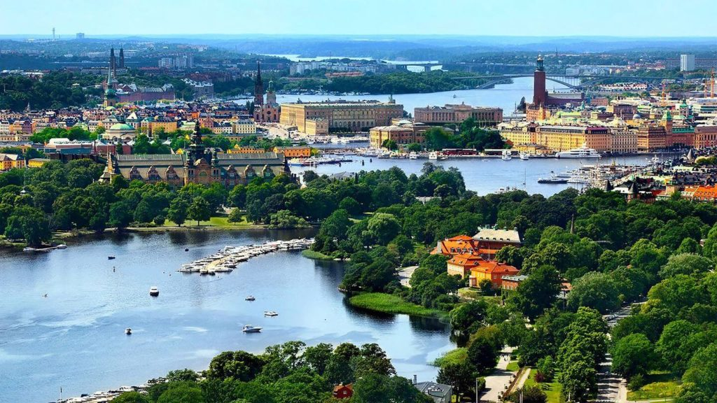 aerial view over Stockholm palace water forests Sweden