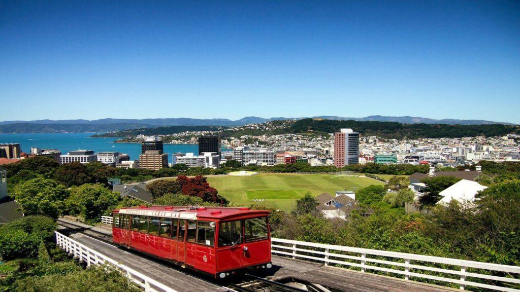 red tram overlooking Wellington city New Zealand