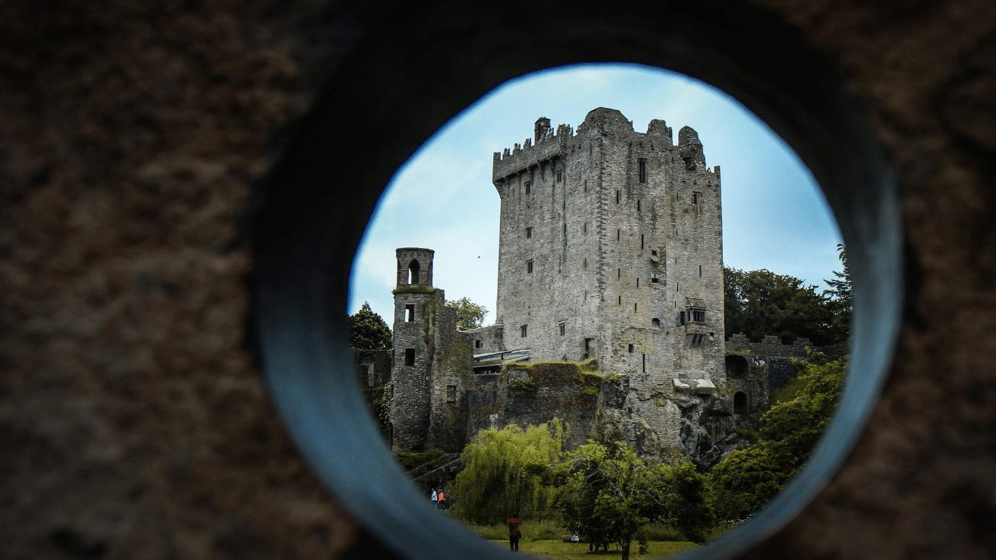 View of Blarney Castle through a peep hole