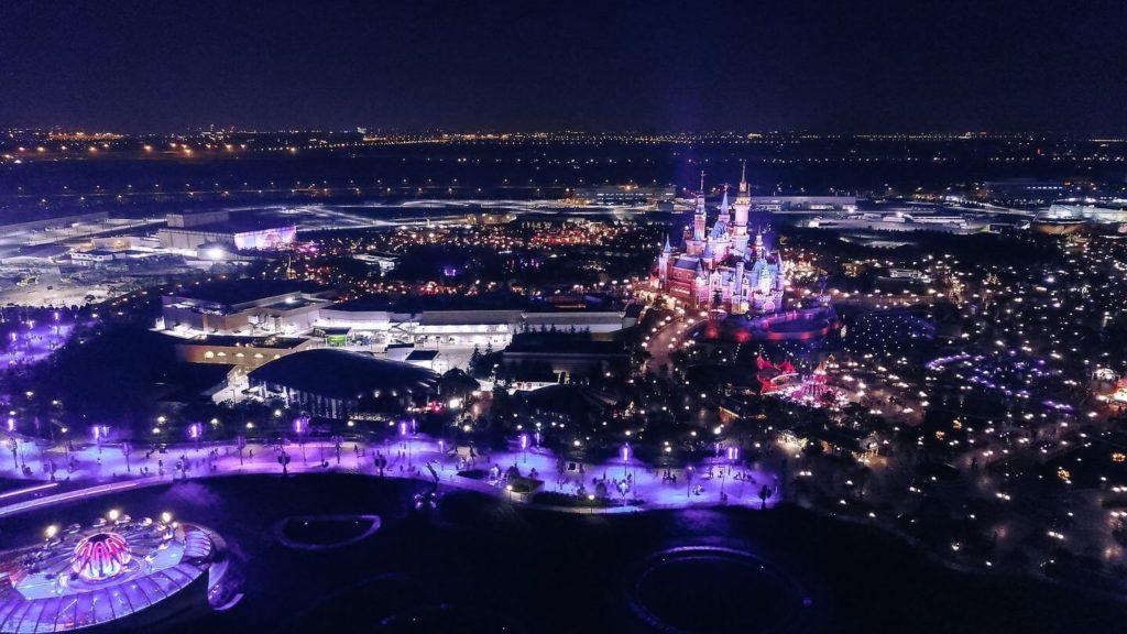 aerial view of Disneyland illuminated at night USA