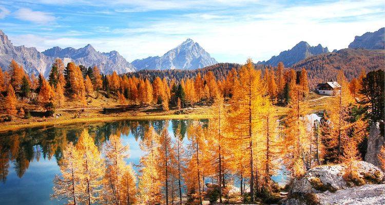 golden autumn foliage Dolomites Italy