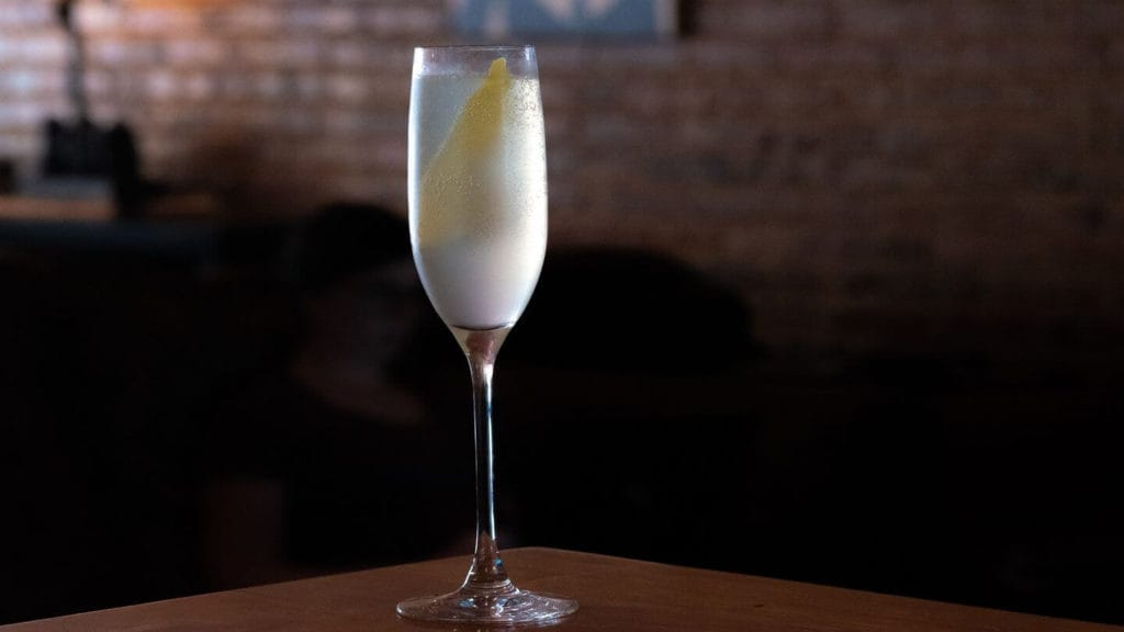 French 75 cocktail champagne flute