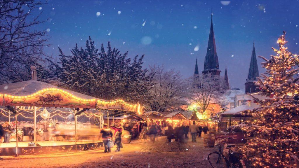 twinkling lights Christmas market Germany