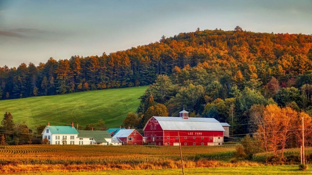 red barn and autumn foliage New Hampshire USA