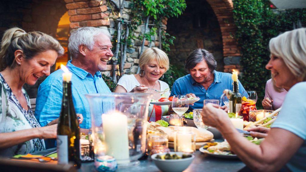 Trafalgar guests enjoying dinner