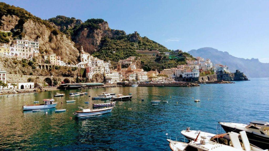 boats and cliffside homes Amalfi Coast Italy