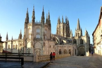 pilgrims outside the Cathedral of Santiago de Compostela