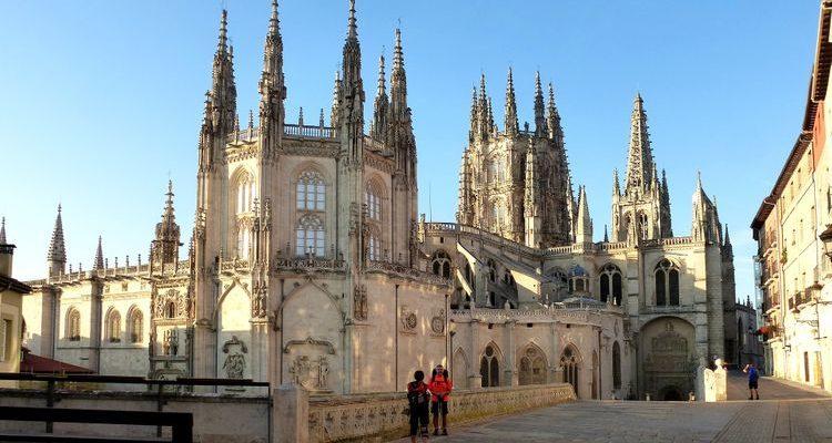 pilgrims outside the Cathedral of Santiago de Compostela