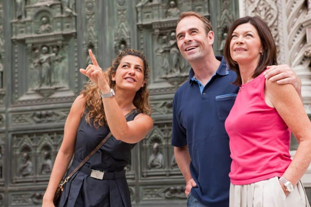 Trafalgar Travel Director with guests Florence Italy