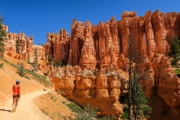 woman hiking trail Bryce Canyon National Park
