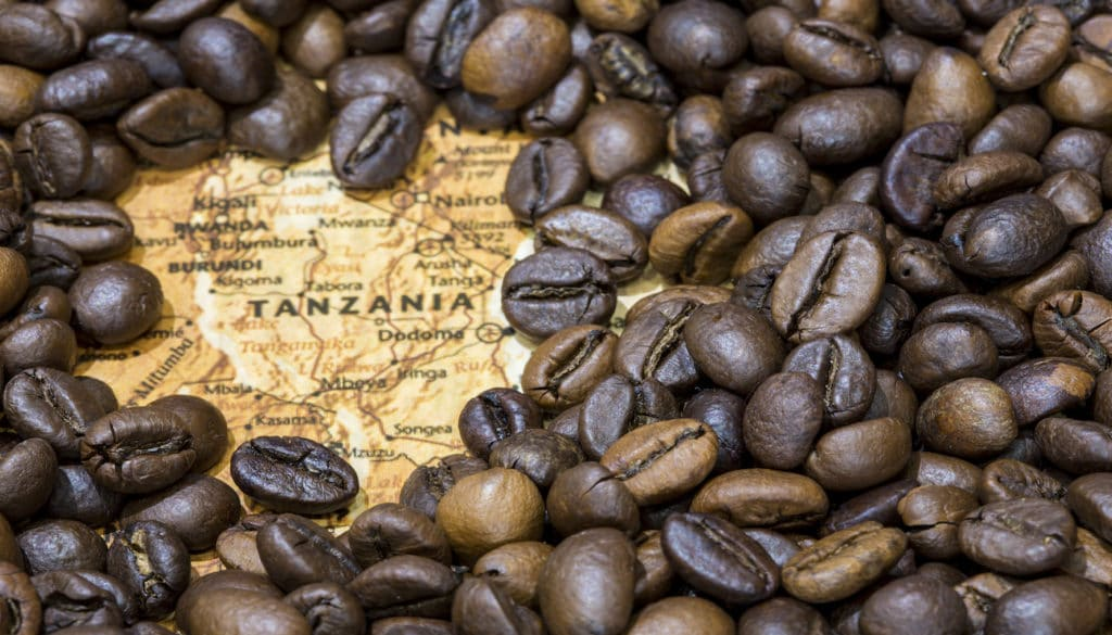 Map of Tanzania under a background of coffee beans