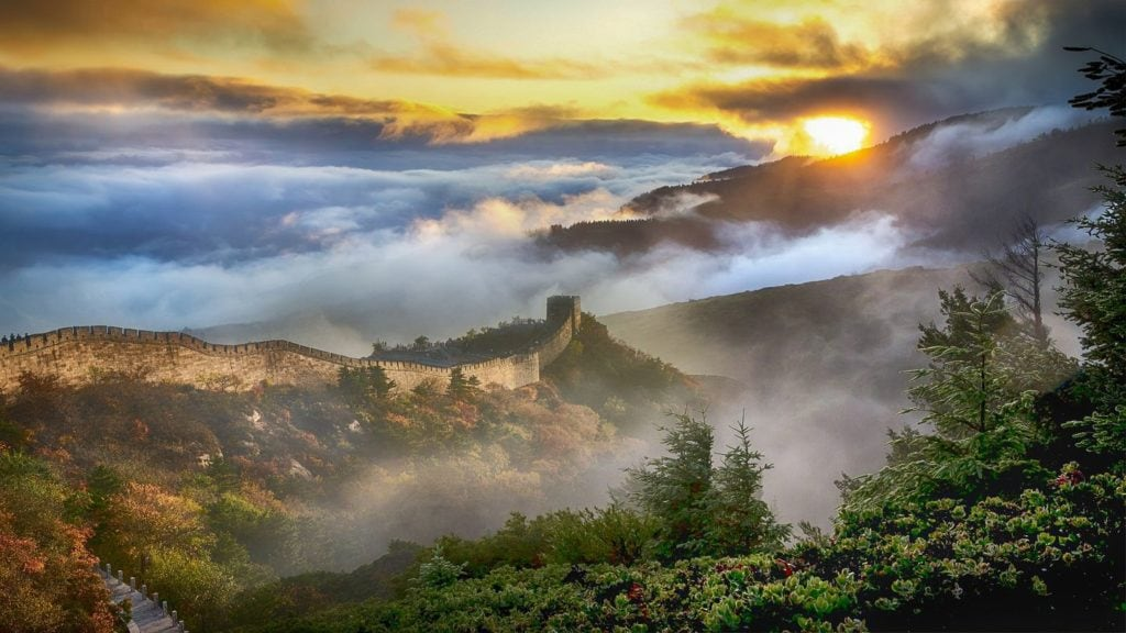 misty landscapes over the Great Wall of China
