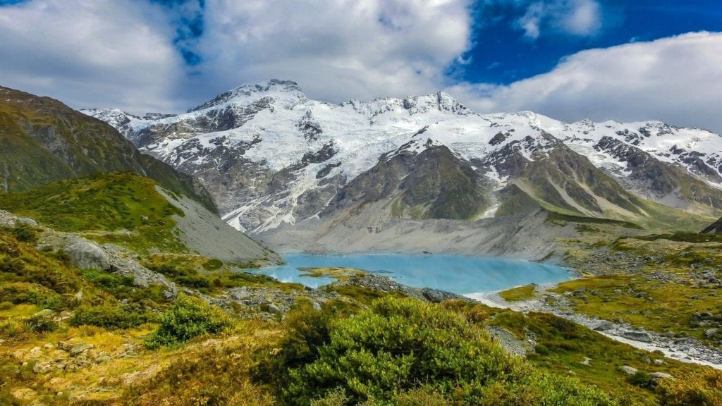 blue lake snow capped mountains New Zealand alps