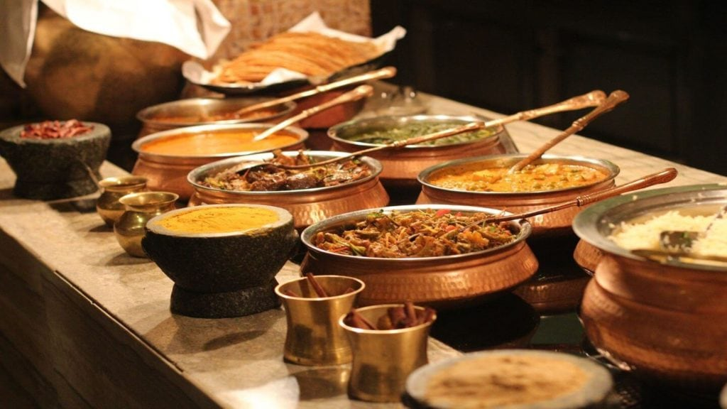 buffet of Indian dishes