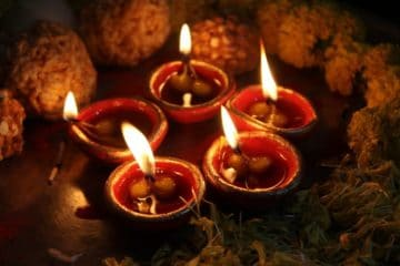 lit candles to celebrate Diwali