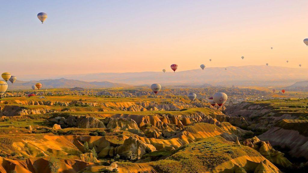 hot air balloons rock formations Cappadocia Turkey