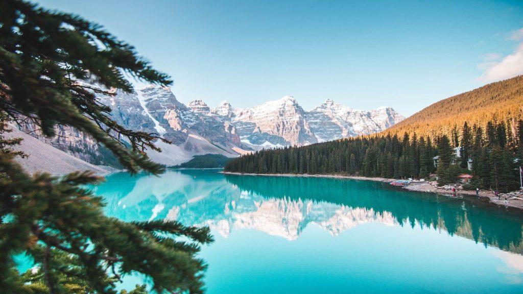 electric blue Lake Louise Banff Canada