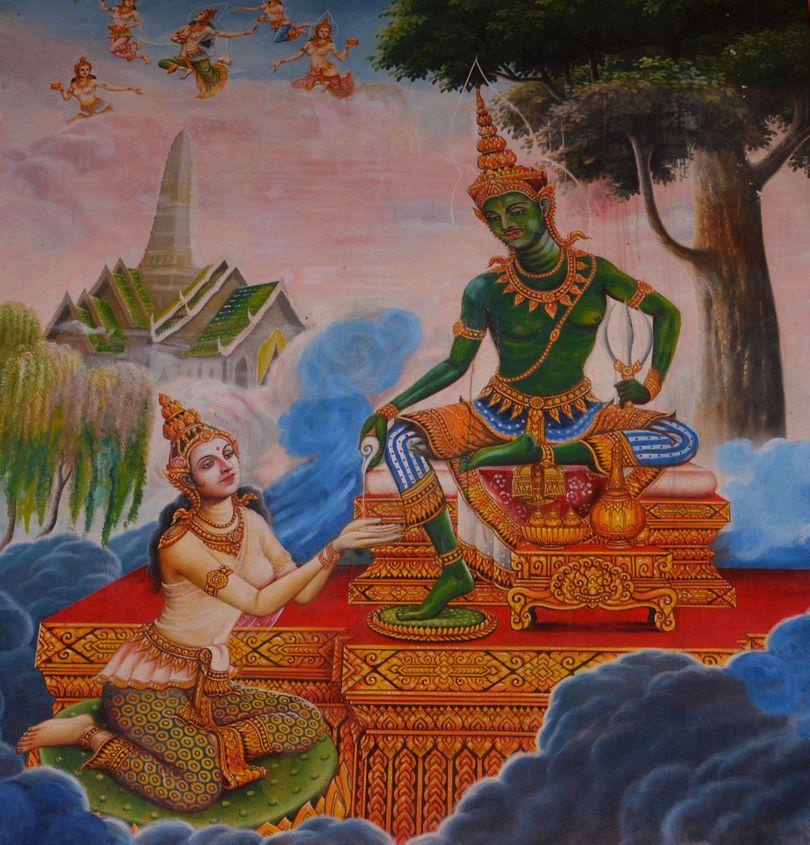 drawing of the Hindu Goddess Lakshmi and Lord Vishnu