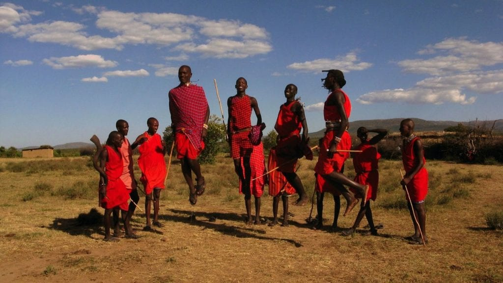 Maasai warriors in traditional red robes