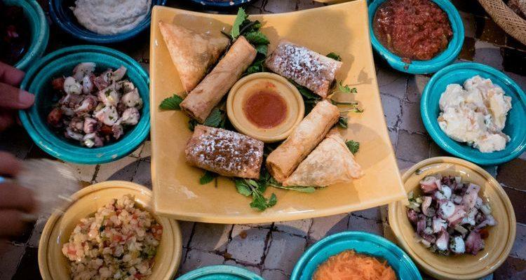 Moroccan food spread