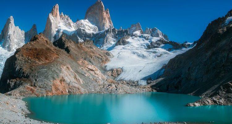 blue lake snowy granite spires Mount Fitz Roy Patagonia Argentina