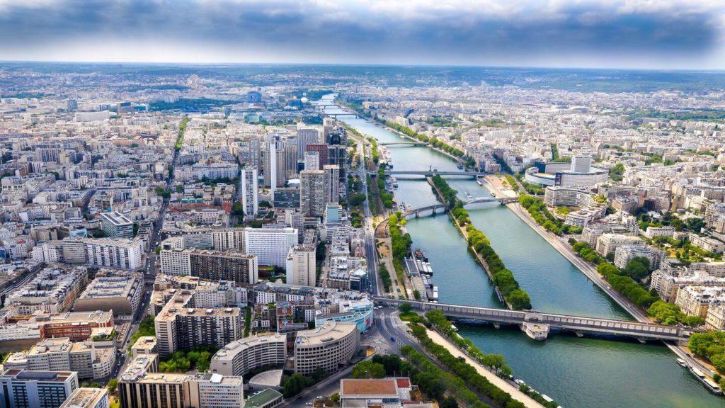 aerial view over Paris and River Seine
