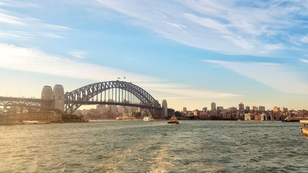 Sydney Harbour bridge and bay Australia