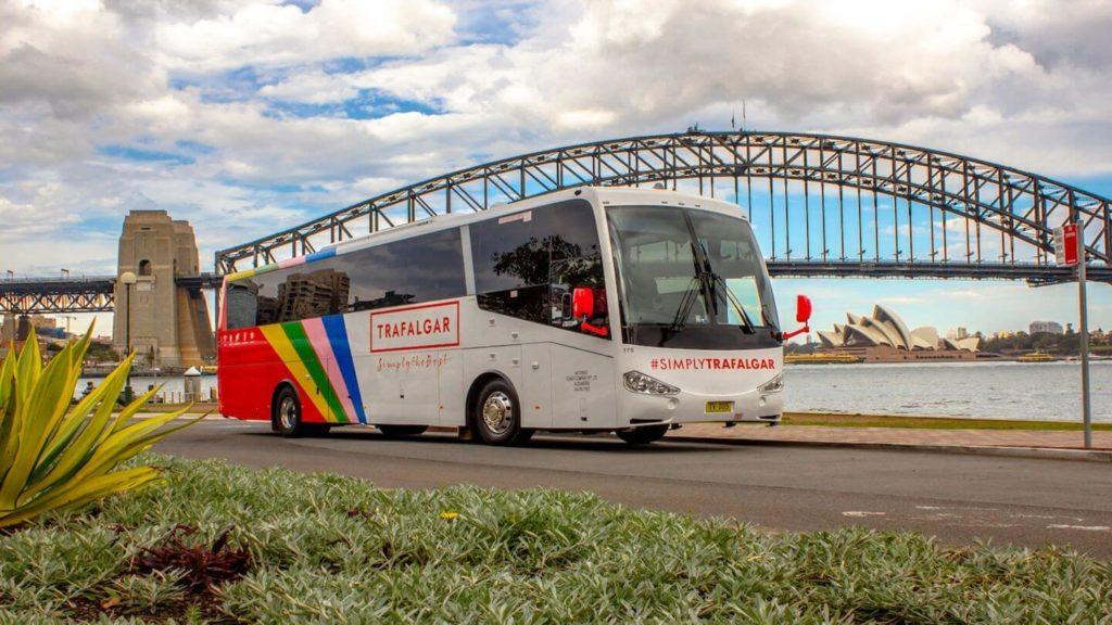 Trafalgar customised coach Sydney Harbour Bridge