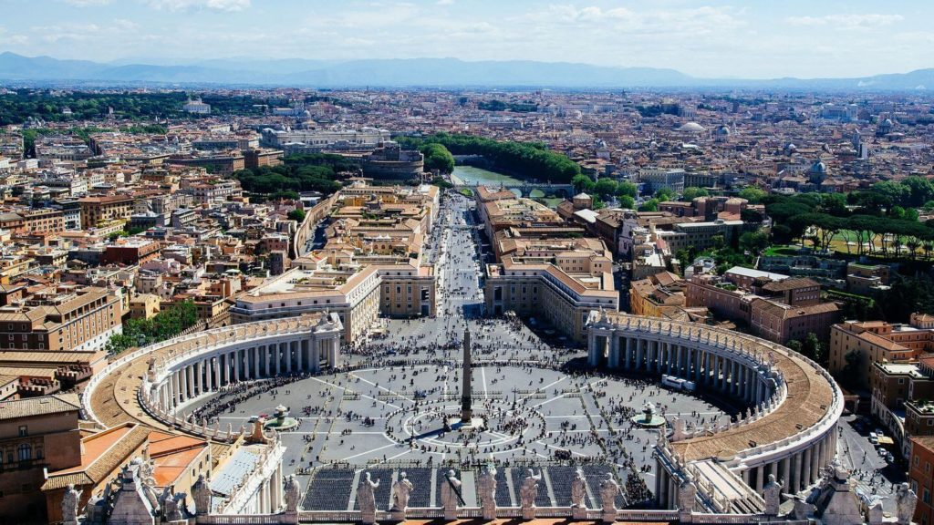 aerial view over Vatican City and St Peter's Square Italy