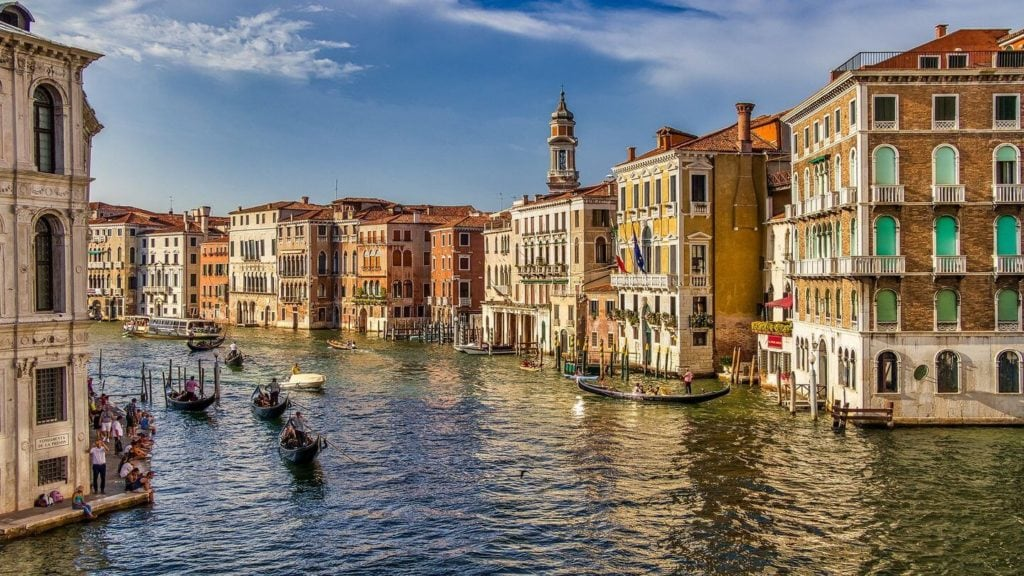gondolas on the canal traditional buildings Venice Italy