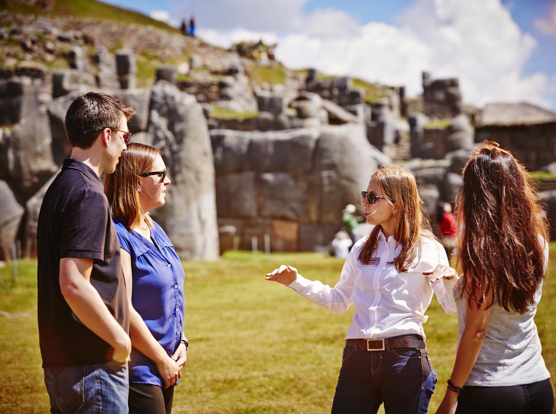 Trafalgar tour guide speaking to a group