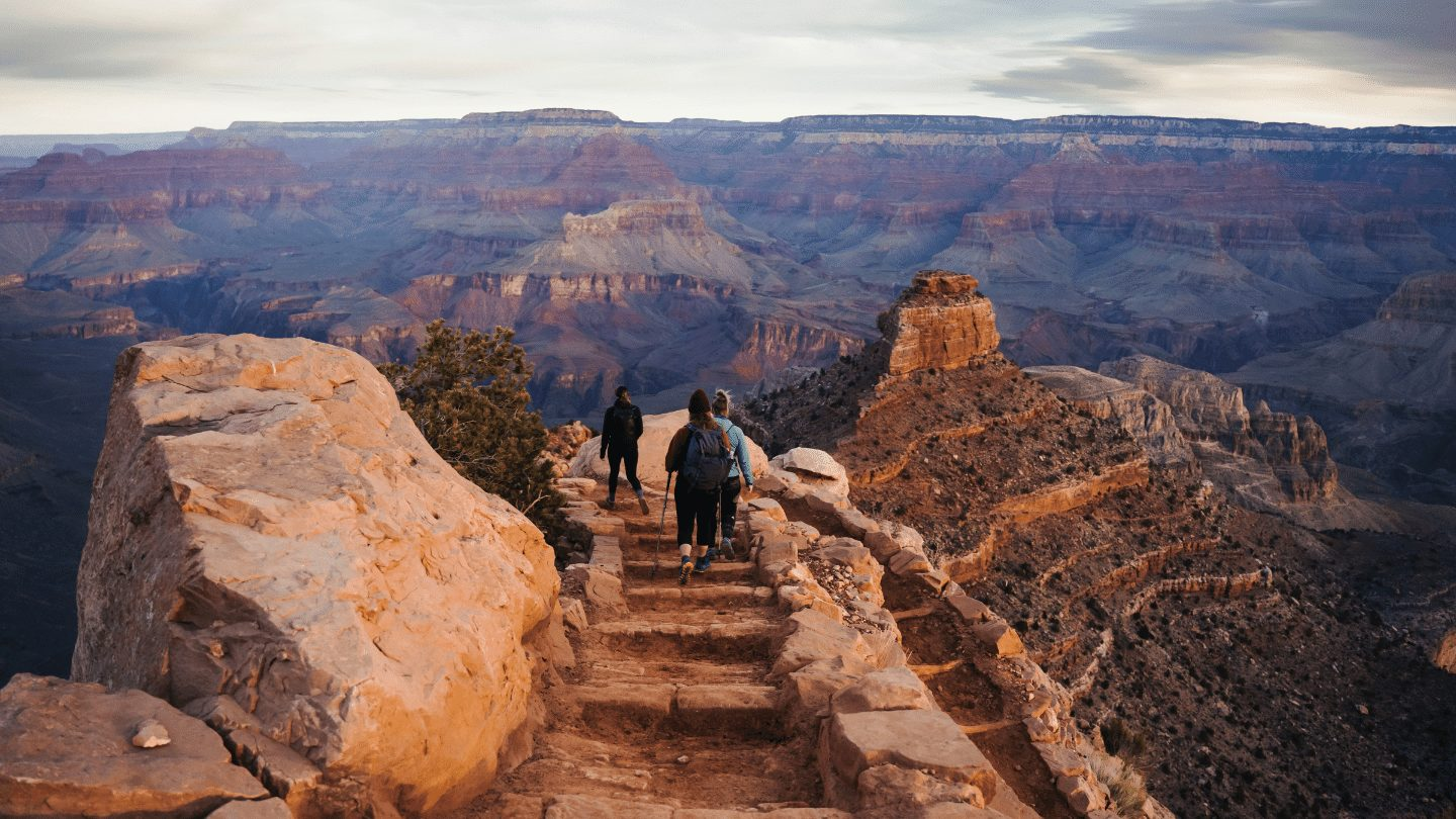 group of people hiking in Grand Canyon
