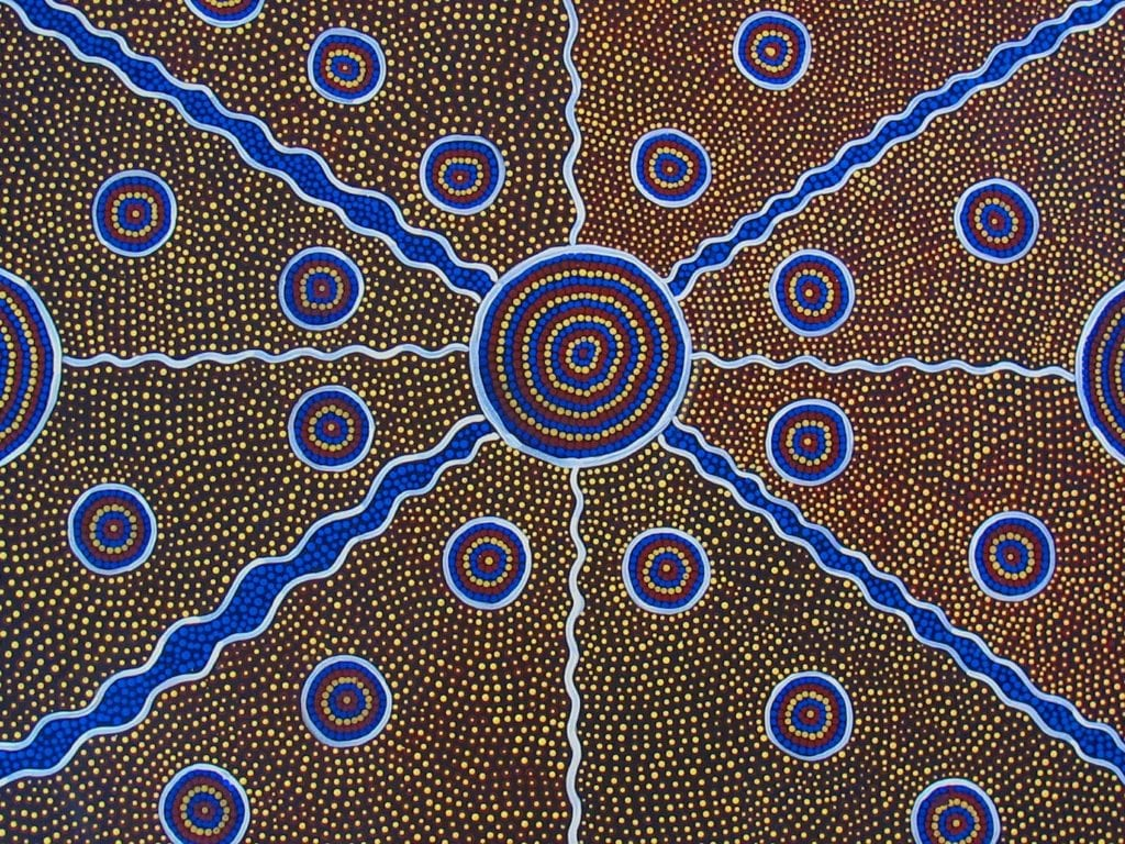 Traditional First Nations People dot art in Northern Territory of Australia