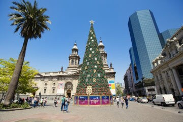 Christmas tree at The Plaza de Armas in Santiago, Chile