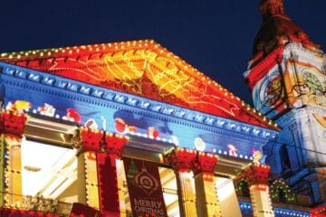 Melbourne City Hall with Christmas projections