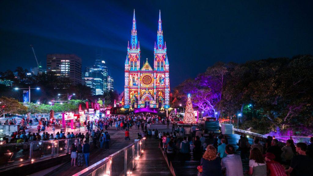 Illuminated building in Sydney