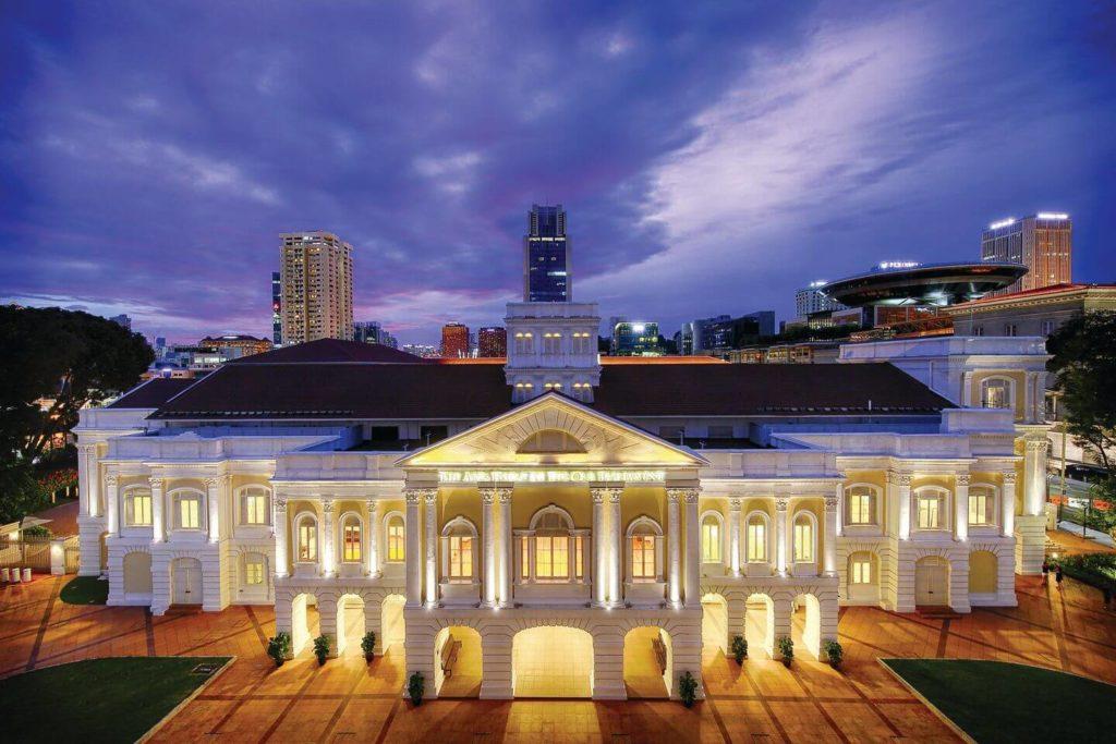 The Arts House illuminated at night in Singapore