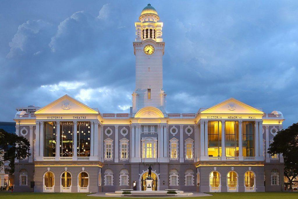 Victoria Theatre and Concert Hall illuminated at night Singapore