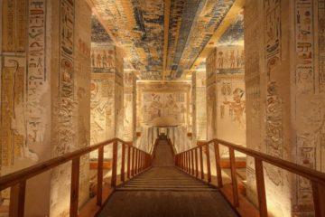 ancient tomb illuminated walkway Egypt