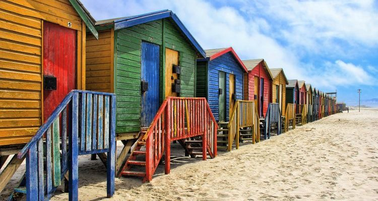 colourful beaches boxes Christmas in South Africa