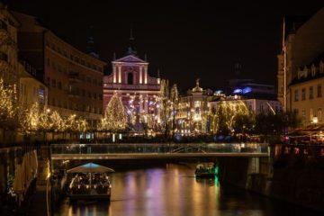 Ljubljana Christmas lights canal Christmas markets in Slovenia