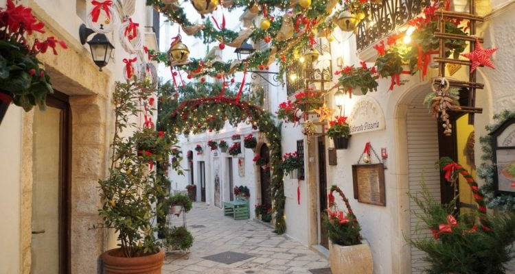 festive street Locorotondo Christmas markets in Italy