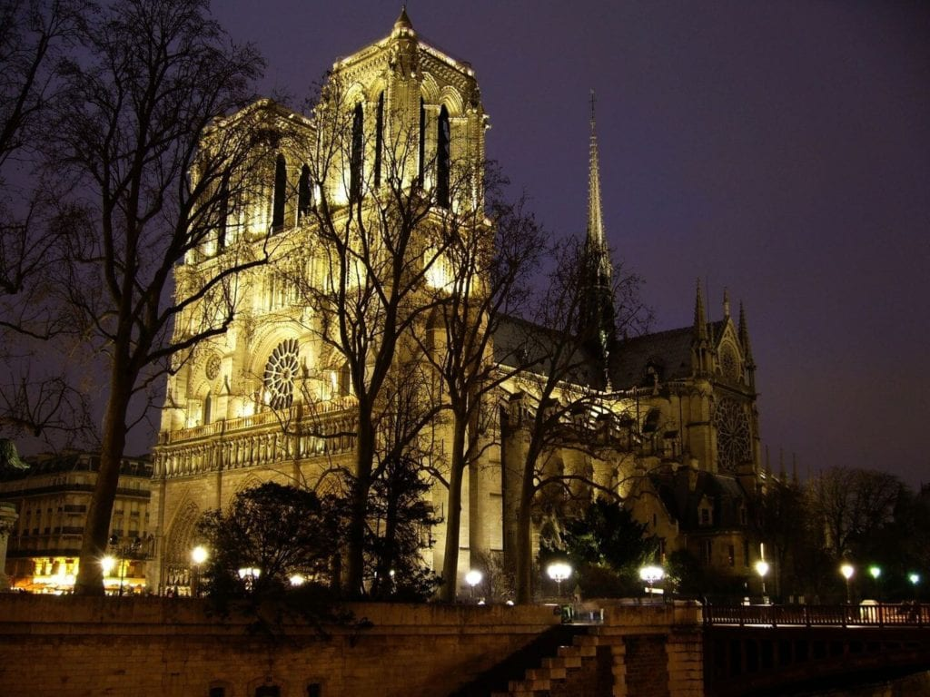 Notre Dame Cathedral illuminated at night France