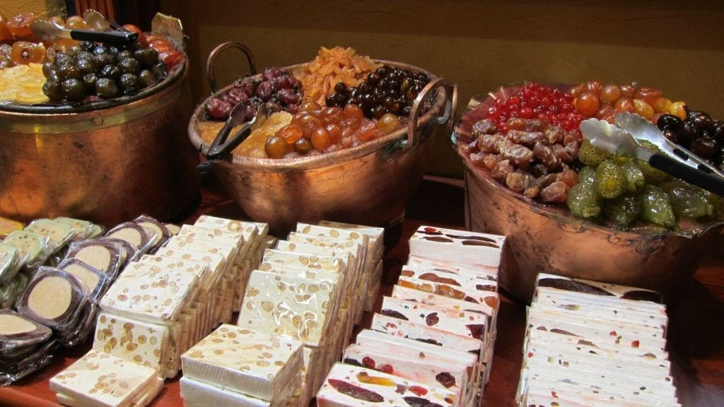 French Christmas desserts nougat candied fruits nuts