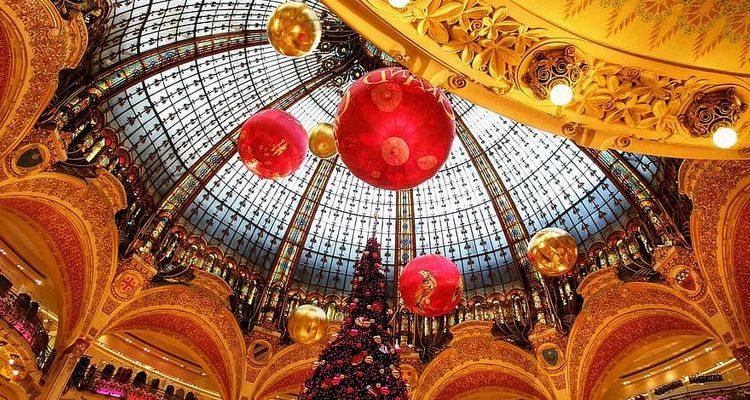 Paris La Fayette department store Christmas decorations French Christmas
