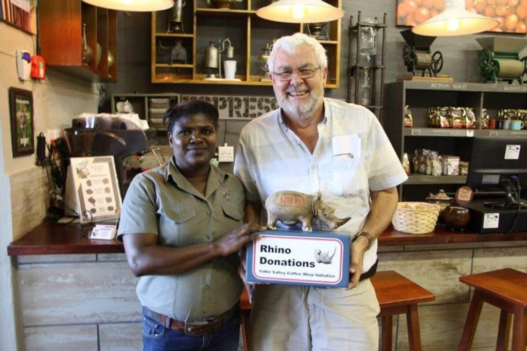 workers with rhino donations at the Sabie Valley Coffee cafe